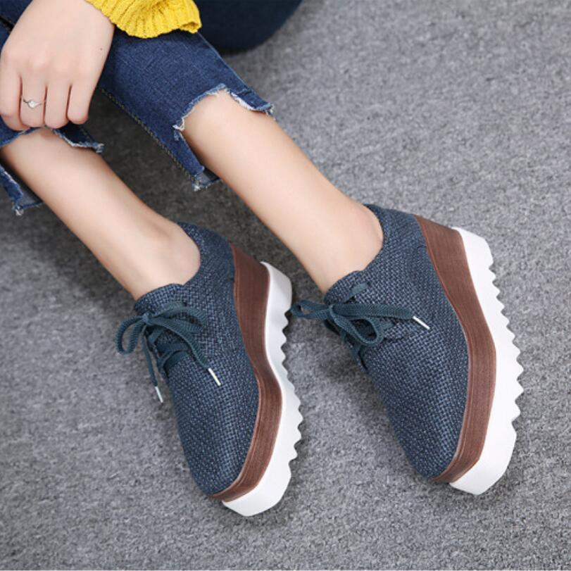 D&Henlu Canvas Flat Platform Autumn Shoe Woman Round Toe Lace-Up Platform Oxford Shoes For Women 2017 New Fashion Creepers e lov women casual walking shoes graffiti aries horoscope canvas shoe low top flat oxford shoes for couples lovers