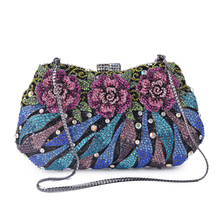 2019 AW New Bling Bling full rhinestones floral ladies clutches handmade ladies evening clutch bag party wedding bridal clutch hollow out floral rhinestones evening bags party small clutch mini bridal purse wedding gold crystal women clutches handbags