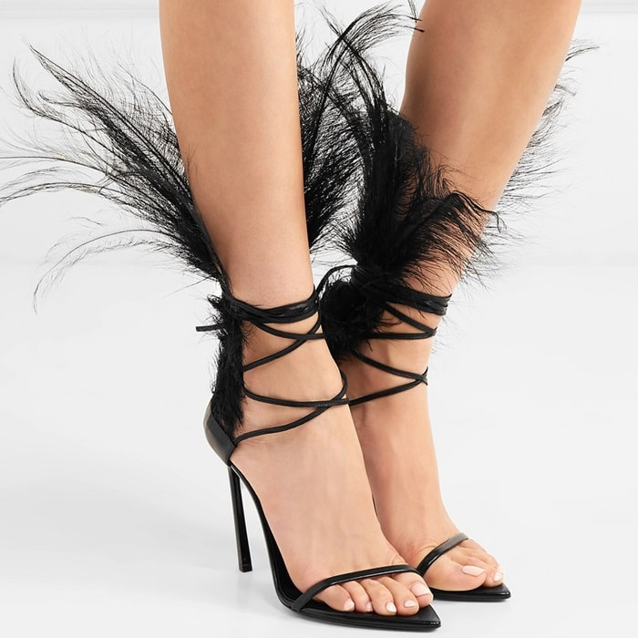 Deification Feather Studded Ladies Sandals Zapatos Lace Up High Heels Sexy Black Open Toe Party Wedding Shoes Sandalias Mujer