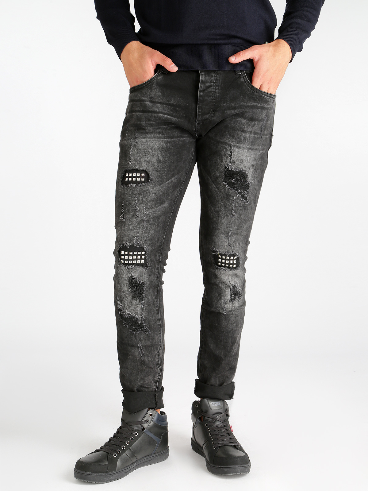 Jeans   studs worn effect