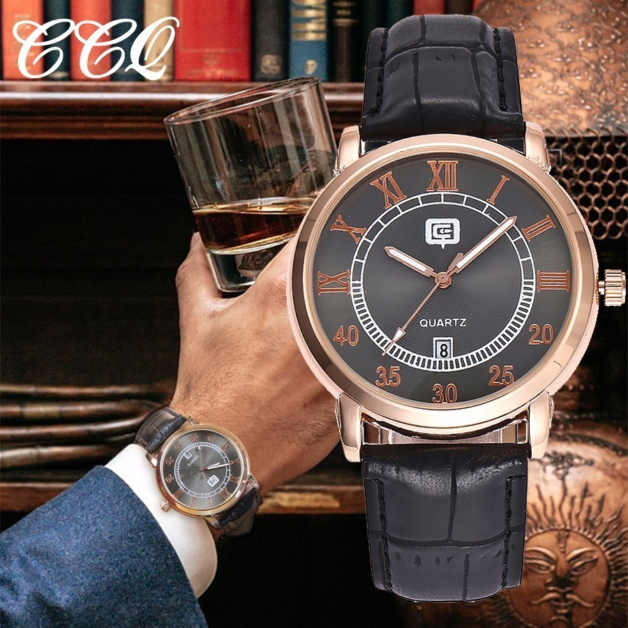 CCQ Watch Top Brand Luxury Men Fashion Casual Quartz Date Clock Leather Strap Men' s Business Wristwatches Relogio Masculino цена
