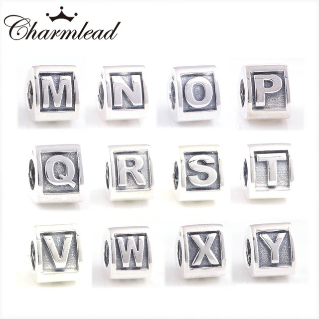 36243e1249063 Alphabet M to Z letter Charm Silver Beads Fit Pandora Bracelet Charms 925  Sterling Silver Beads DIY Lady Bracelet Jewelry-in Beads from Jewelry & ...