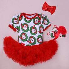 Baby Rompers 3PCs Infant Clothing Set Baby Girls Christmas Santa Pattern Printed Tutu Dress Jumpersuit Headband Shoes