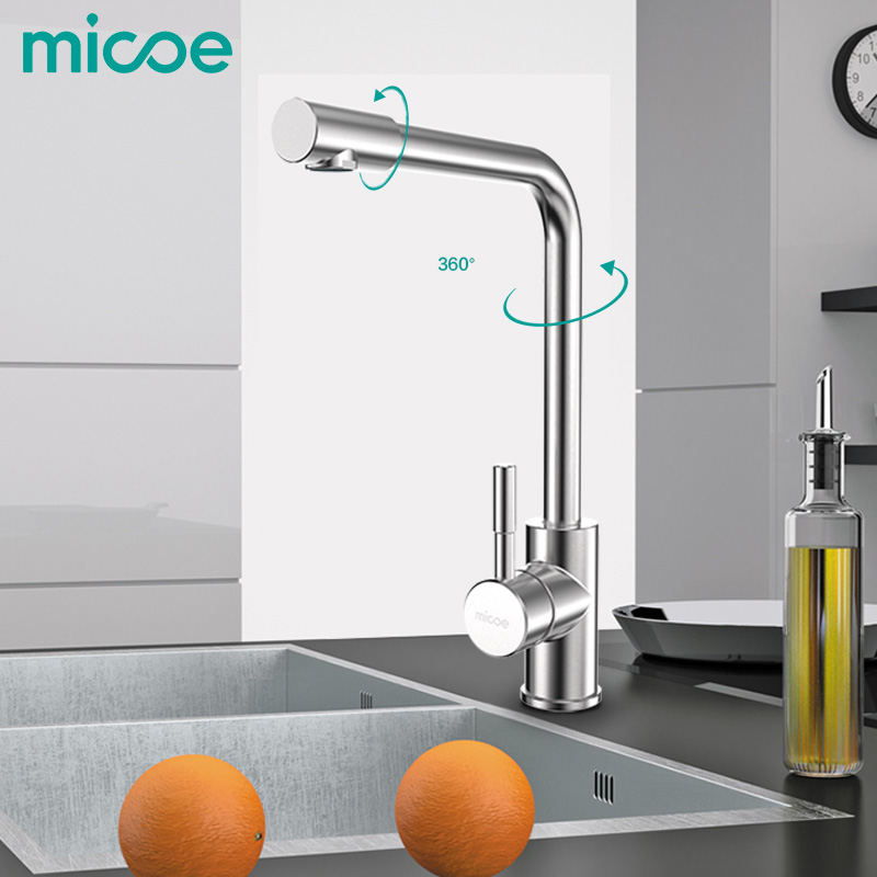 MICOE modern kitchen sink faucet single handle hot and cold nanometer torneira 360 swivel 304 stainless steel   sink mixer tap 2016 torneira torneira de cozinha tap 304 stainless steel kitchen faucet hot and cold dish basin lead free fine wire drawing