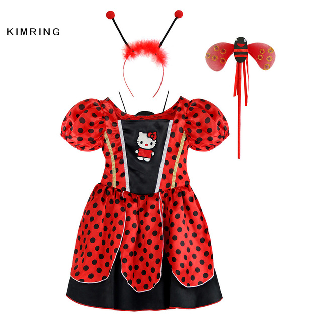 9e6e8b030 Kimring Cute Ladybug Halloween Costume Dress for Girls Fantasia Kids Halloween  Fancy Dresses Masquerade Party Ladybird Cosplay