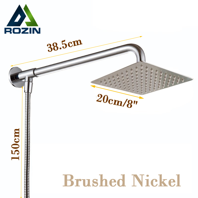 Nickel Brushed Wall Mount Shower Head 8 Rain Showerhead with Shower Arm with Shower Hose 59