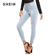 SHEIN Bleach Wash Ripped Jeans 2018 Summer Blue Mid Waist Crop Pocket Jeans Women Ripped Denim Casual Pants