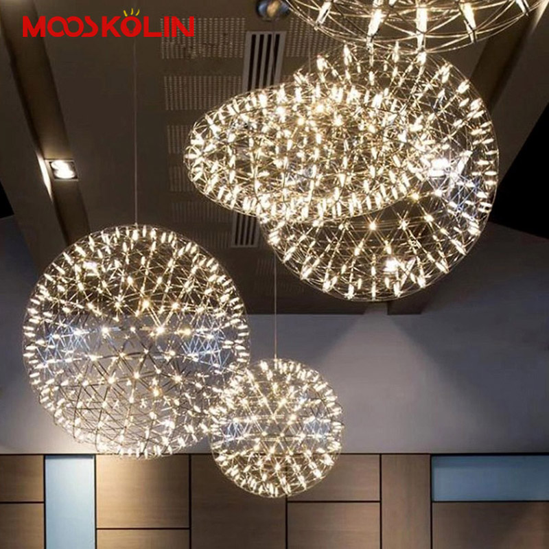 Postmodern LED Ball Chandelier Creative Spark artistic Personality Living room Restaurant Stairs Hotel Lobby Firework Hang lamp
