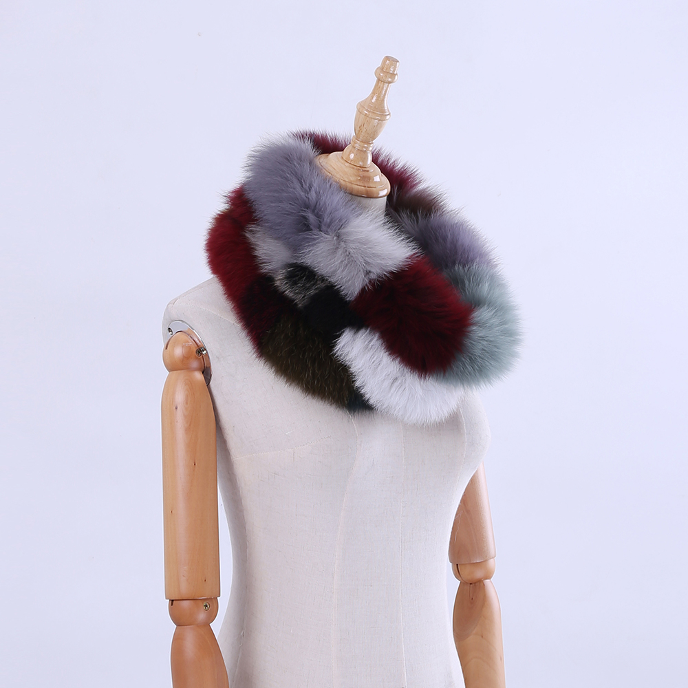 2018 Brand New Genuine Real Fox Fur Women's Lady Fur   Scarf     Scarves   Ring Cowl Snood Cirle Infinity   Scarf     Wraps   Shawl Multicolour