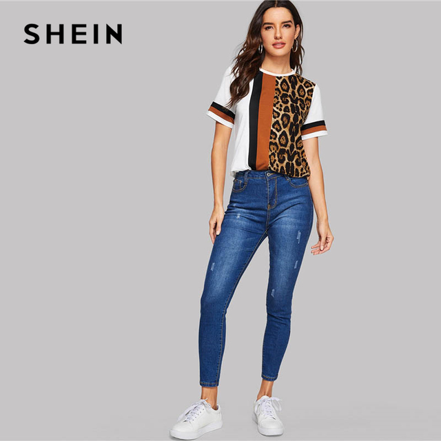 SHEIN White Color Block Cut-and-Sew Leopard Panel Top Short Sleeve O-Neck Casual T Shirt Women 2019