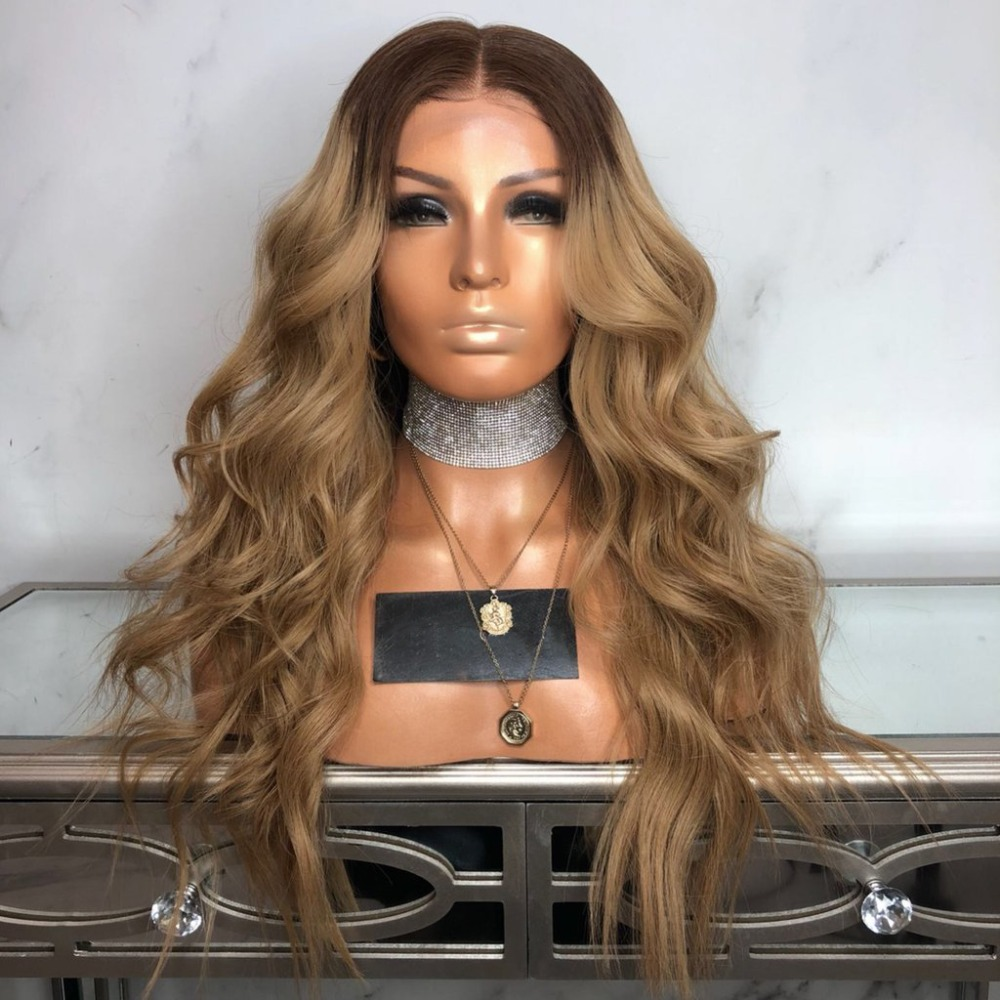 DLME 180density Ombre Brown Wig Glueless Synthetic Lace Front Wig With Baby Hair Heat Resistant 26Inch Wavy Wigs For Black Women