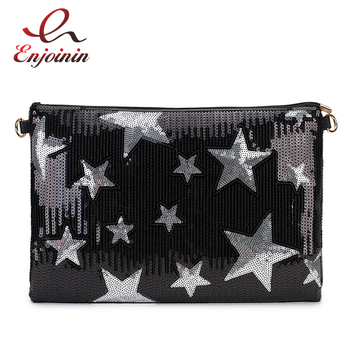 New BlingBling Fashion Sequin Star Pattern Pu Leather women's Envelope Bag Day Clutch ladies crossbody messenger bag Purse irregular pattern pu crossbody bag