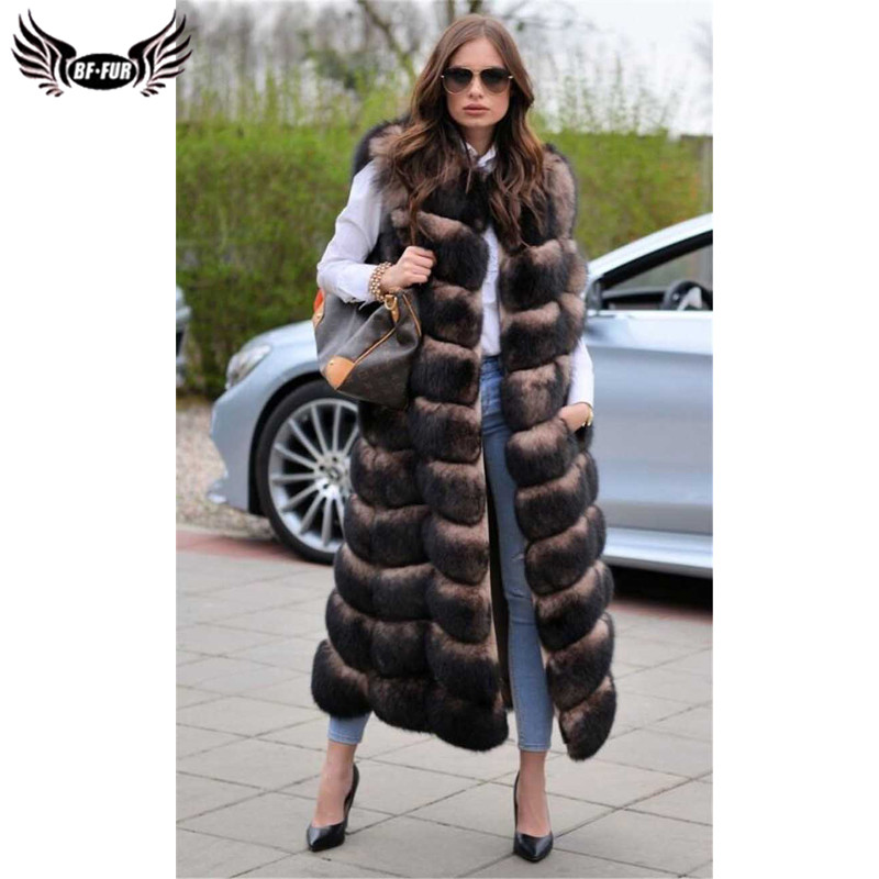BFFUR Real Fox Fur Vest Is 120 cm Thick Warm Long Coat Covered Women Winter Sleeveless Luxury Brand Jacket Park With Natural Fur
