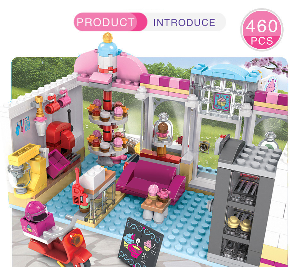 Friends Series Heart Lake City Girls Club Street Building Blocks Mia's Camper Pink Cake Cafe Compatible  Friend Toy Gifts