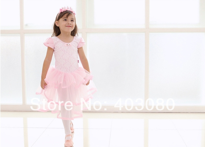 Hot sales pink short sleeves 4 years - 7 years Girl's ballet dress, kid TUTU dress ZG:M-XXL(Present rose hair accessories/clip)