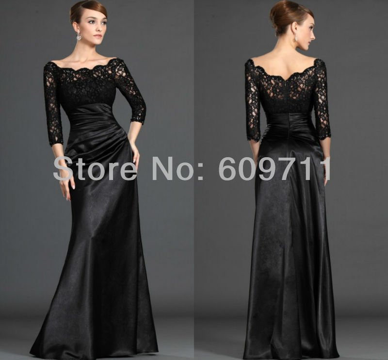Custom made Off the Shoulder Lace Satin Black Evening Dresses with ...