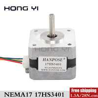 Free shipping 17HS3401 4-lead Nema 34mm Stepper Motor 42 motor 42BYGH 1.3A CE ROSH ISO CNC Laser and 3D printer