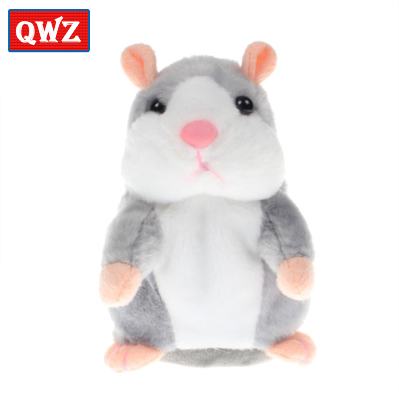 QWZ 16cm Cute Talking HamsterCute Baby Electronic Pets Toys Plush Dolls Sound Record Speaking Hamster Talking Toy Gift