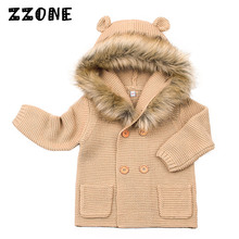 6M-24M Baby Winter Fur Hooded Detachable Cardigan Girls/Boys Double Knitted Coat Newborn Kids Warm Solid Hooded Sweater,DC339