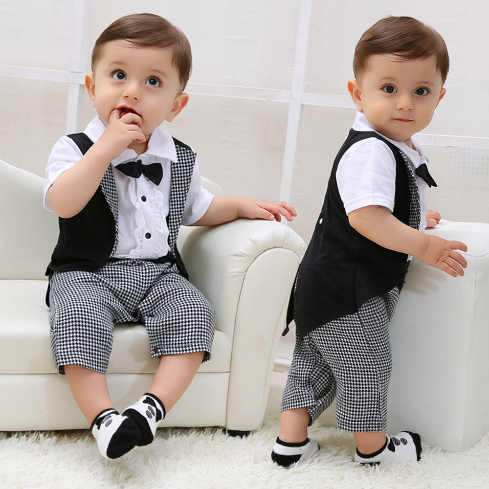 Baby Boy Clothes Baby Suits Toddler Baby Boys Gentleman Bowtie Plaid Swallowtail Romper Jumpsuit Outfits