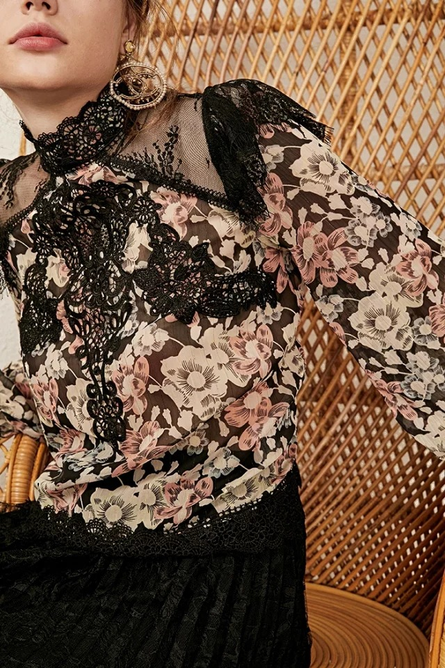 Encaje Multiple Bordado Collar Larga Largo Blusa Mujer Floral De Nueva Tops Impresión Con 2019 Vintage Negro Moda Manga xqI4YTw