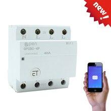 EWeLink interruptor inteligente con WIFI para el hogar, dispositivo de control remoto por aplicación, 4P, 40A, carril Din