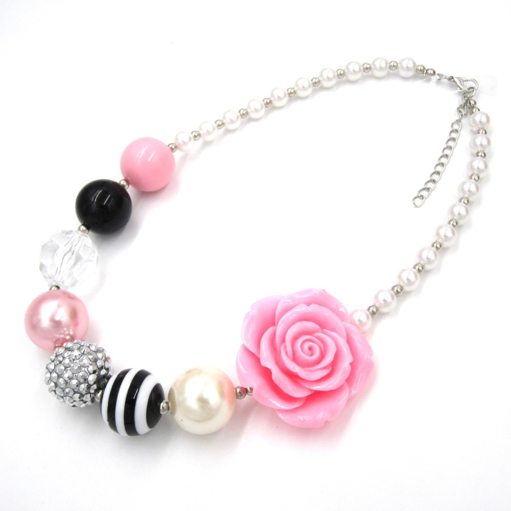 2017 Charm chunky beads necklace with PINK flower baby girl chunky bubblegum necklace for child kids gift jewelry Ожерелье