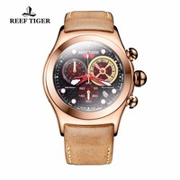 Reef Tiger/RT Luxury Military Watches with Date Rose Gold Analog Automatic Watches Brown Leather Band RGA782