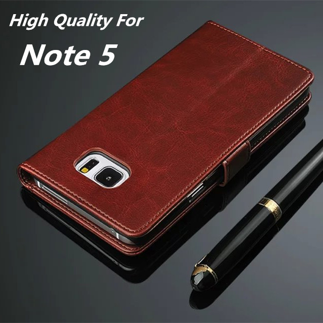 Azns Note5 ძვირადღირებული საფულის ყუთი Samsung Galaxy Note 5 N9200- ის შემთხვევაში