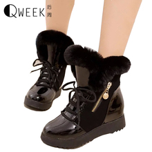 QWEEK Women Boots Pu Leather Winter Warm Snow Boots Fur Plush Lady Height Increase Boots Zip Round Toe Flat Platform Soft Shoes