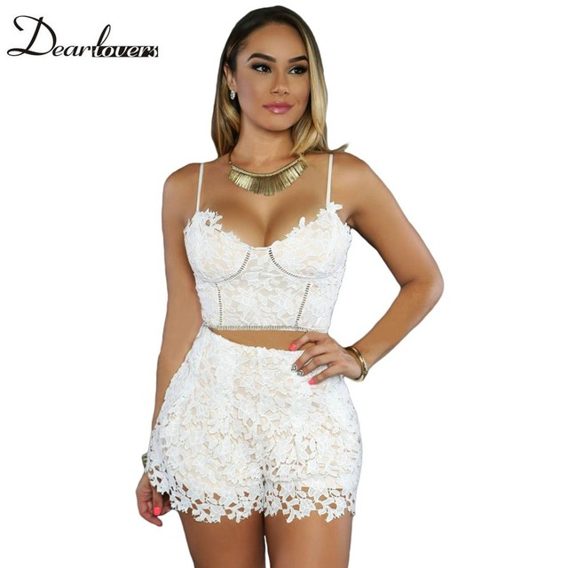 Dear lover White Lace Crop Top And Shorts Set 2017 Sexy Spaghetti Strap Top Women Set Pants 2 piece set Women Clothing LC62016