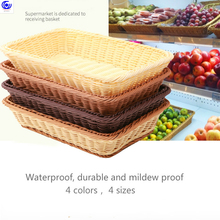 bread fruit baskets hand-woven plastic imitating vines tray storage basket Waterproof durable and mildew proof 4 sizes  colors