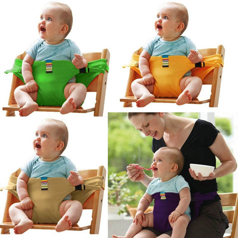 Baby Portable Seat Kids Dining Chair Safety Belt Washable Travel Foldable Stretch Wrap Feeding Chair Harness Baby Booster Seats