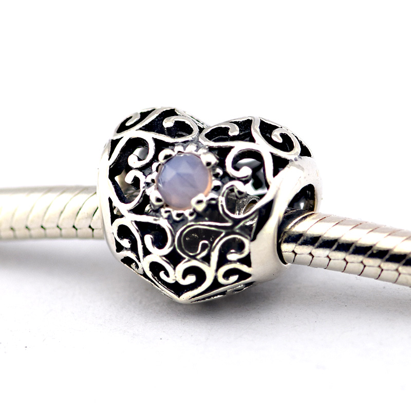 Fits Pandora Bracelets October Signature Heart, Opalescent Pink Crystal  Beads 925 Sterling Silver Charms DIY Jewelry Wholesale,in Beads from Jewelry