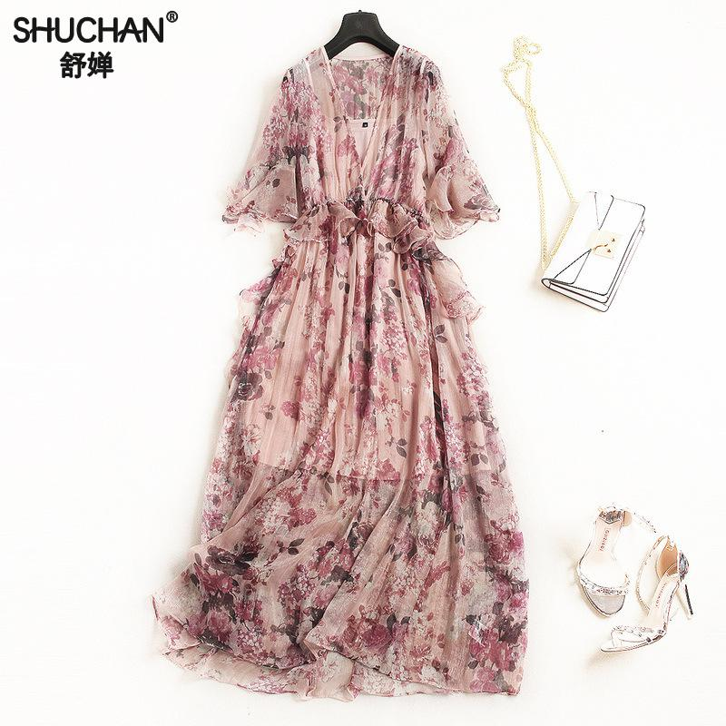 SHUCHAN MAXI DRESS LONG CHIFFON Bohemian Print Half Butterfly Sleeve Ruffles Ankle-length V-neck dress summer 2018 with print viven leigh brand design bohemian maxi dress women lotus dress 2018 summer gypsy robe boho print long dress v neck dress