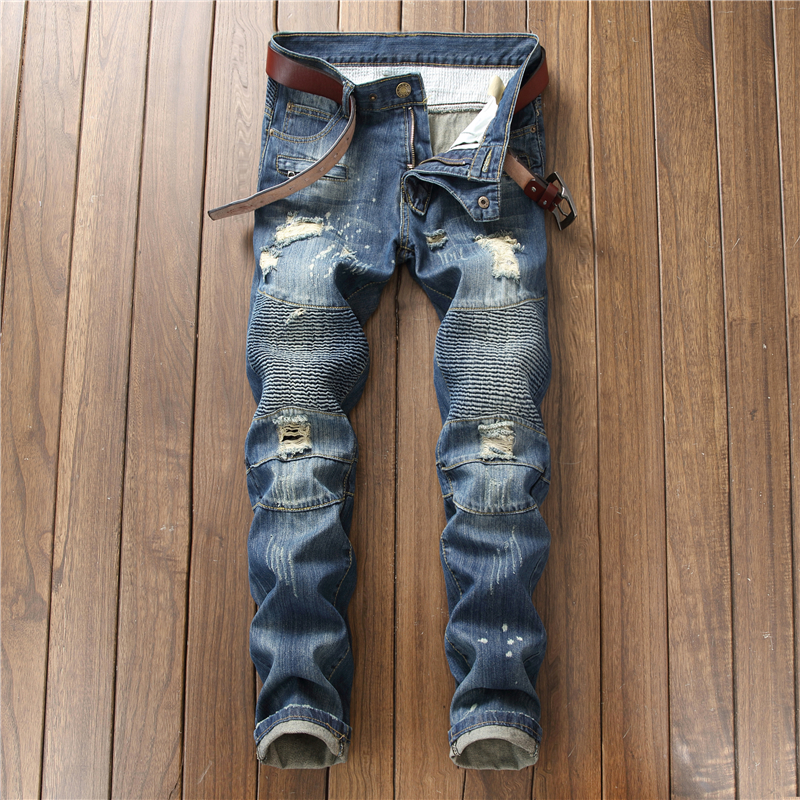 28-42 Men`s Ripped Moto Biker Pleated Jeans Pants Uomo Brand Clothing Regular Fit Patchwork Jeans Men A550