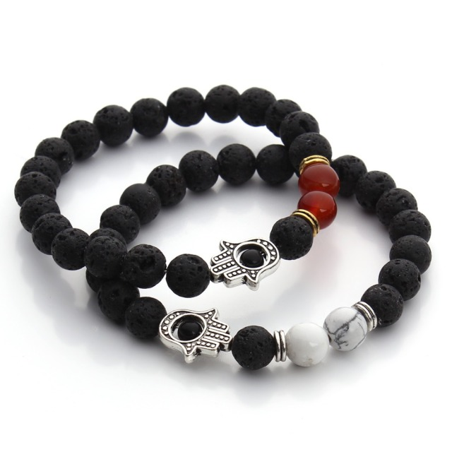 8mm Nature Black Lava Beaded Bracelet Energy Stone Hamsa Hand Bangle Charm Yoga Mala Bracelets