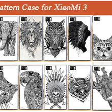 Hot Selling 10 Patterns Painting Case For Xiaomi 3 White And Black Animals Hard