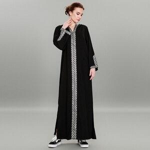 Image 2 - Delle Donne di modo Musulmano Vestito Sexy Split Abaya Turco del Vestito Più Il Formato 5XL Patchwork Nero Hijab Dress Robe Musulmane