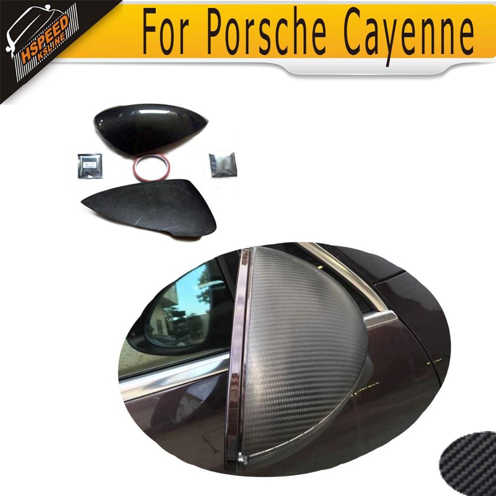Carbon Fiber Car Rear Side Mirror Covers Trim Fender for Porsche Cayenne 2015 Add on Style
