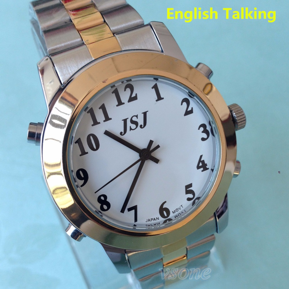 English Talking Watch Big Voice for Blind People Quartz Alarm Watch все цены