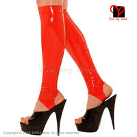 Sexy Latex knee high stockings Red Rubber Calf stockings open with feet wear cut feet foot hose rubber stockings