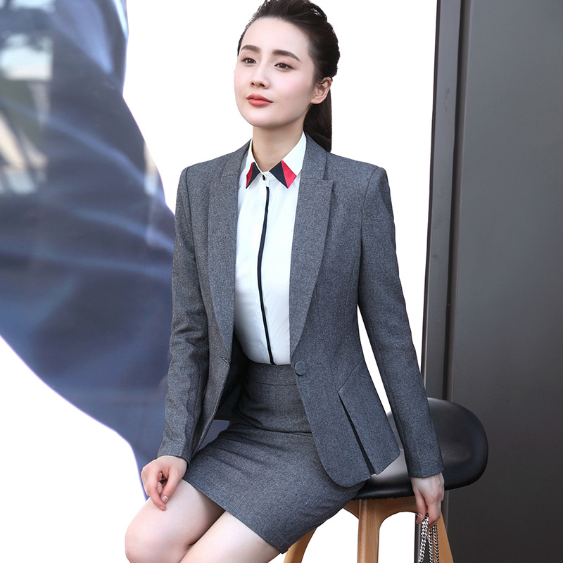 Useful Ladies Navy Blue Blazer Women Business Suits Formal Office Suits Work Wear Pant And Jackets Sets Office Uniform Designs Pant Suits