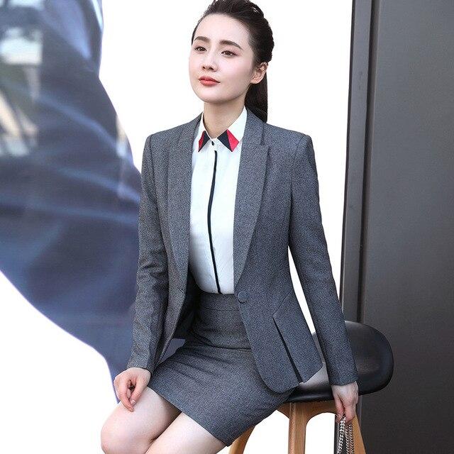 20fc294735f Formal Women Office OL Uniform Designs Women elegant Dark Business Gray pant  Suits Work Wear Jacket