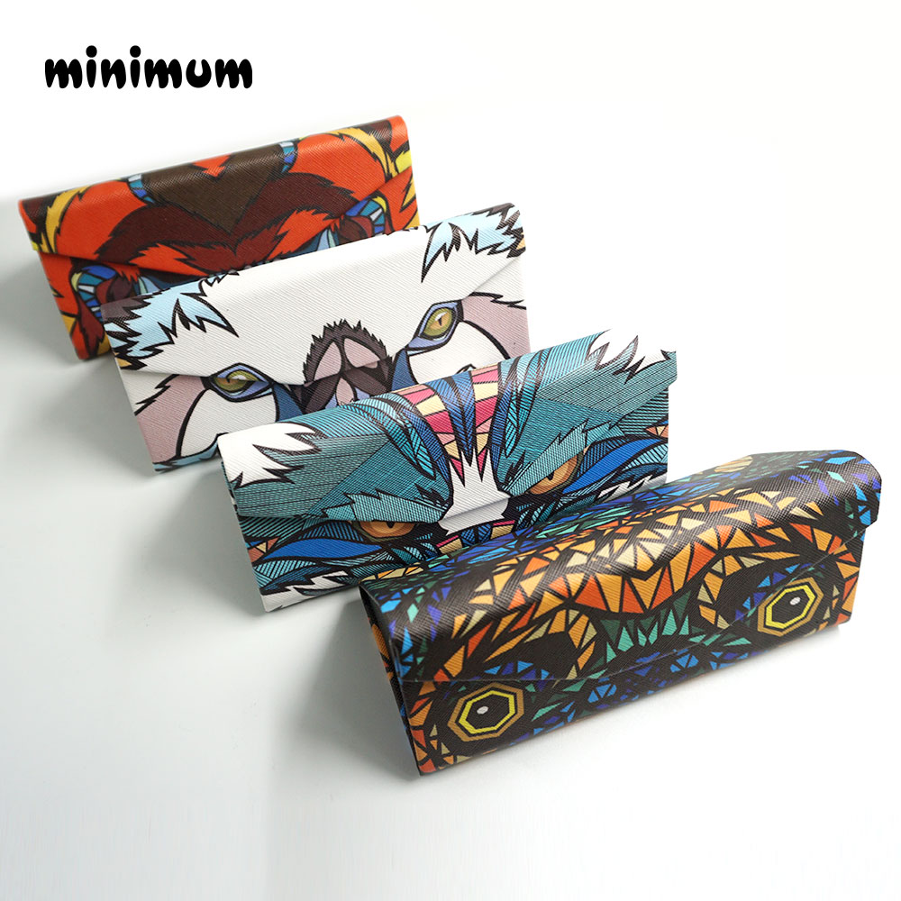 MINIMUM Triangle Foldable Glasses Case Cartoon Animal Eyeglasses Sunglasses Storage Box Protable Faux Leather Sunglasses Case
