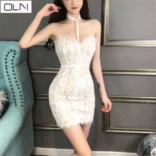 Dress Summer Korean version Vestidos OLN  New arrival hollow V-neck hanging neck lace dress waist sexy OL Office Lad
