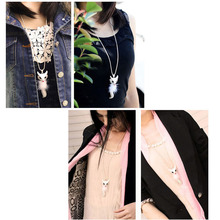 1pcs Cute Beautiful Rhinestone Fox Pendant with Necklace Long Sweater Chain Jewelry