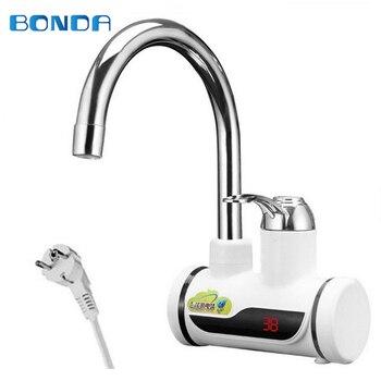 Calentador de agua sin tanque de cocina, grifo eléctrico de 220 V 3000 W, calentador de agua, calentador eléctrico, elemento con pantalla de temperatura