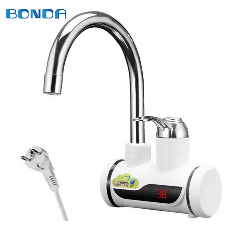 Kitchen Tankless Water Heater 220V 3000W Electric Faucet Hot Boiler Water Electric Heating Tap Element with Temperature Display цены онлайн