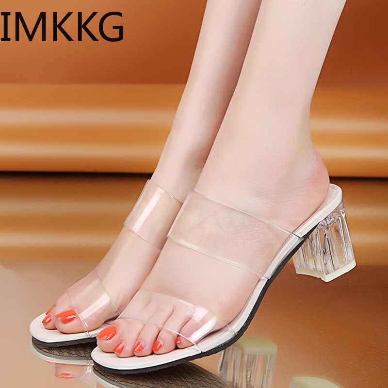 2019 Temizle Topuklu Terlik Kadın Sandalet Yaz Şeffaf Ayakkabı Kare Yüksek Topuklu Jöle Sandalet buty damskie Q00175